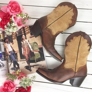 J. B. Dillon Brown Suede Leather Cowboy Boots